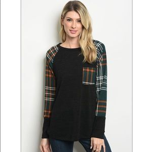 Tops - Knit W/ Green Plaid Contrast Sleeves